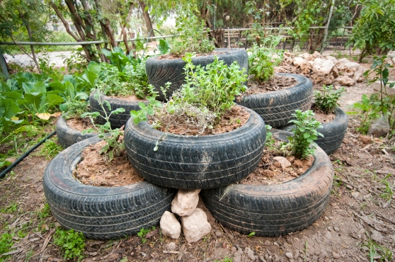 Herb spiral with reused wheels